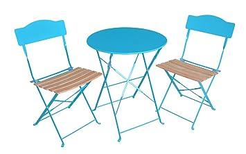 Ensemble 3 Pieces Pour Terrasse 1 Table Ronde 2 Chaises Style