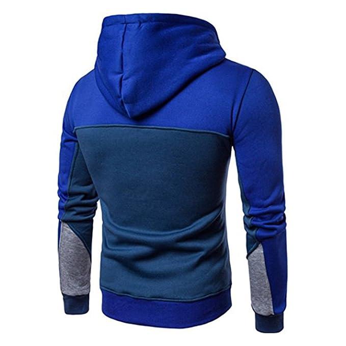 Herren Sweatshirt Kapuzenpullover Sweater Jungen Hoodie Sport Sweatjacke  Langarmshirt Patchwork Outwear Sweatshirts Kapuze Pullover Sweaters Rot  Blau ... f1b4885ebb