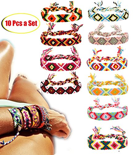 FIBO STEEL Friendship Bracelets for Men Women Handmade Boho Woven Strand Thread for Hair ()