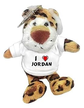 Leopardo de peluche (llavero) con Amo Jordan en la camiseta