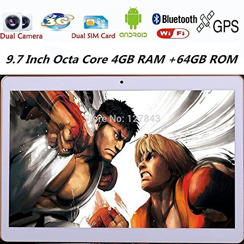 9.7 inch flat eight core 2560x1600 IPS Bluetooth 4GB of ram ROM 64GB 8.0mp 3G Dual SIM card phone Tablet PC Android 5.1 lollipop GPS electronic 7, 8, 9 and 10 white