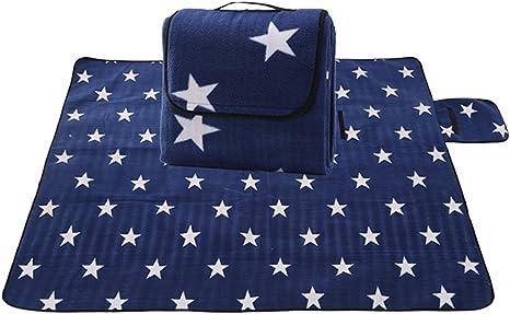 JameStyle26 Estrella Star Picnic Manta para barbacoa, jardín, camping, exterior, playa, impermeable, base XXL, 200 x 200 cm (azul con estrella)