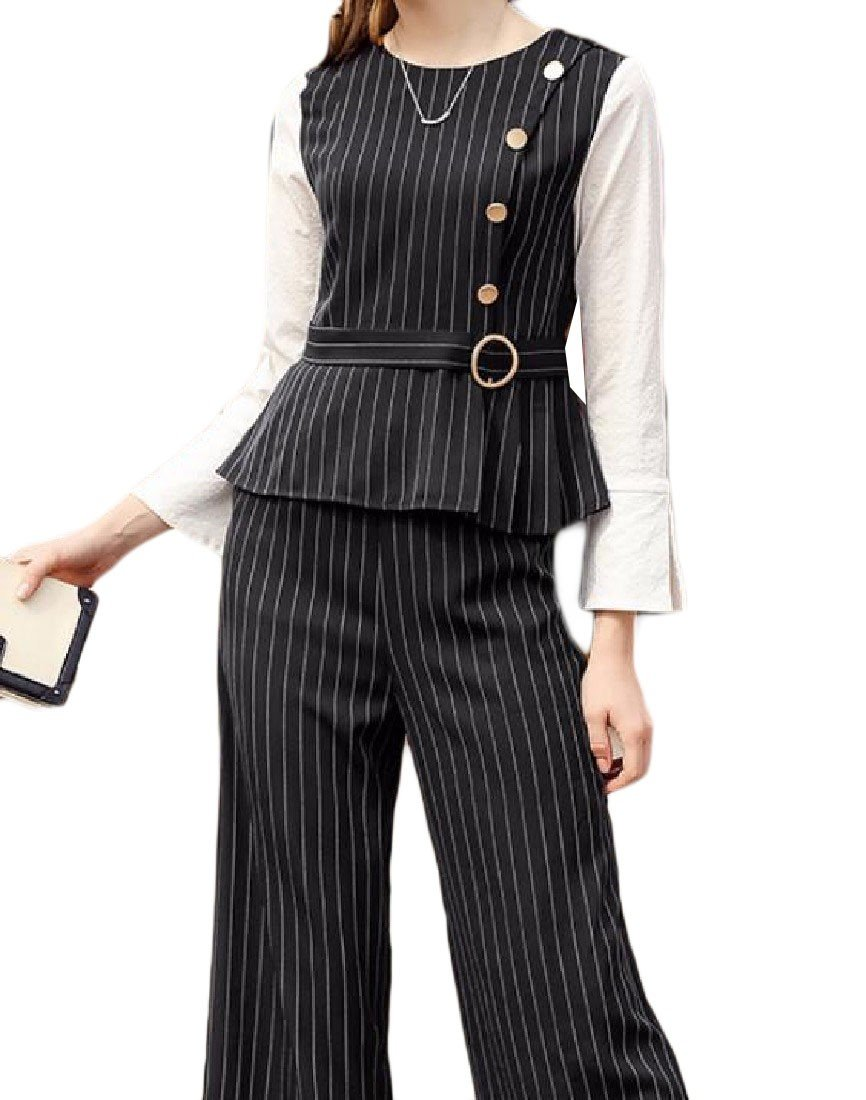 Doufine Womens Shirt Casual Set Stripe Fashion All-Match Wide Leg Pants Black M