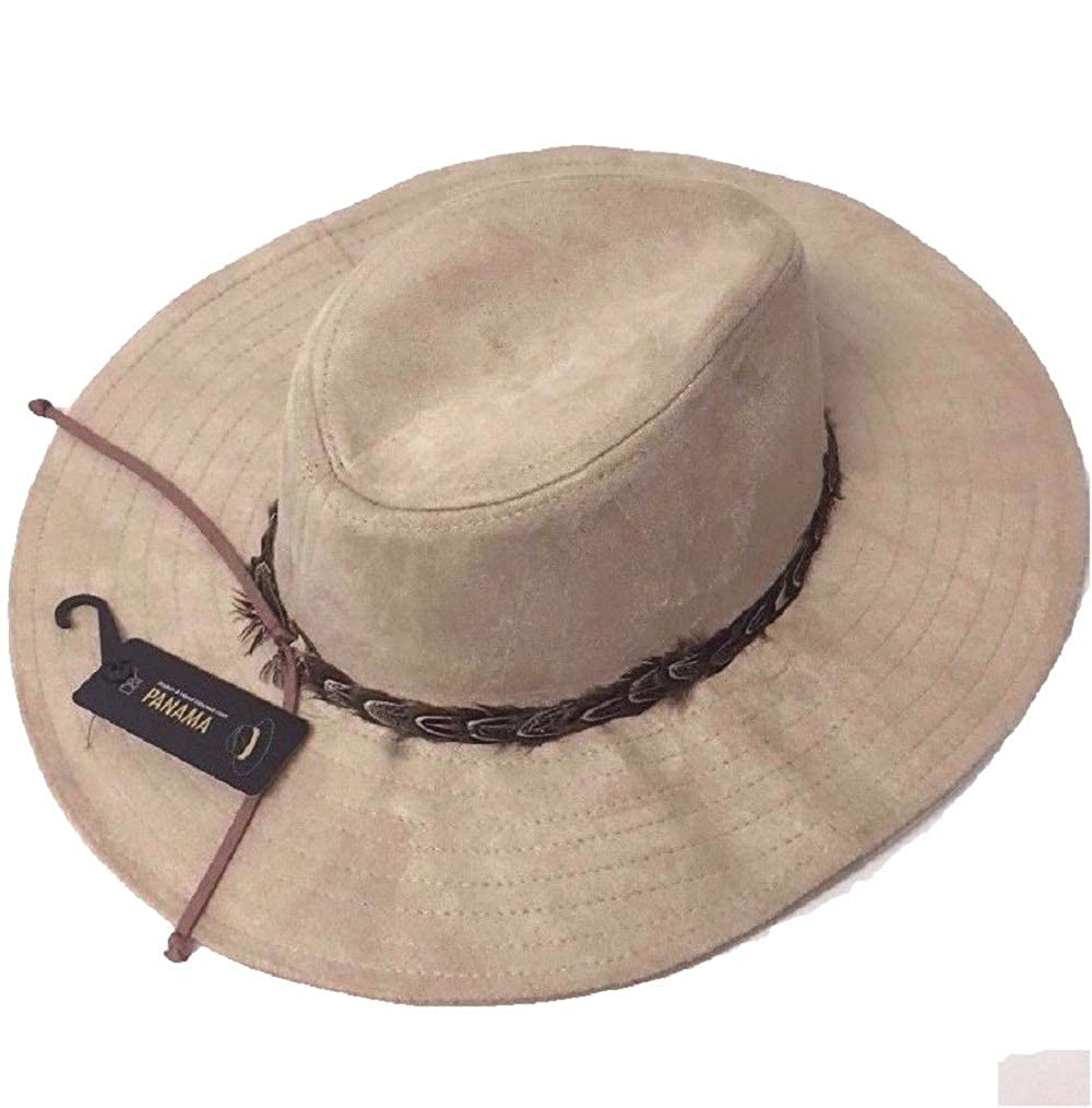Top Mens Panama Fedora Trilby Cap with Feather Band W//Faux Suede Ties Cowboy Hat #KSAS