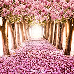 GoodsFederation 10x10ft Cherry Blossoms Street Vinyl Photography Backdrop Amazing Sakura Flower Road Background for Wedding Customized Photo Studio Props RM-006