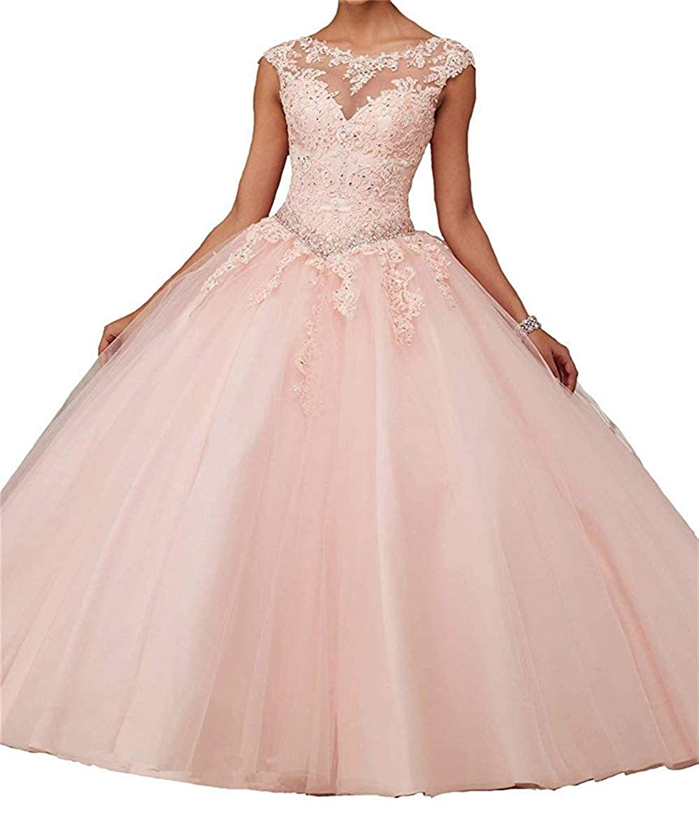 Pink Sophie Women's Girls Boat Neck Lace Applique Beaded Ball Gowns Quinceanera Party Dresses S199