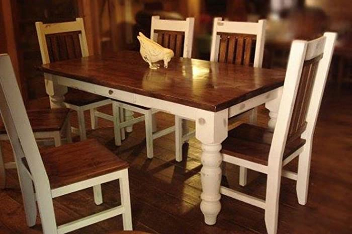 Custom Farm Table 7 Ft With 6 Matching Chairs.