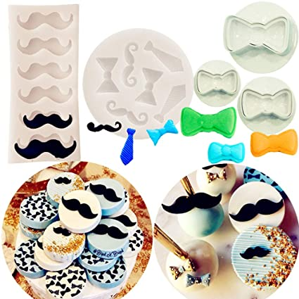 Set of 5 JeVenis Little Man Theme Cupcake Decoration Mini Mustache Mold Tie Mold Bow Mold