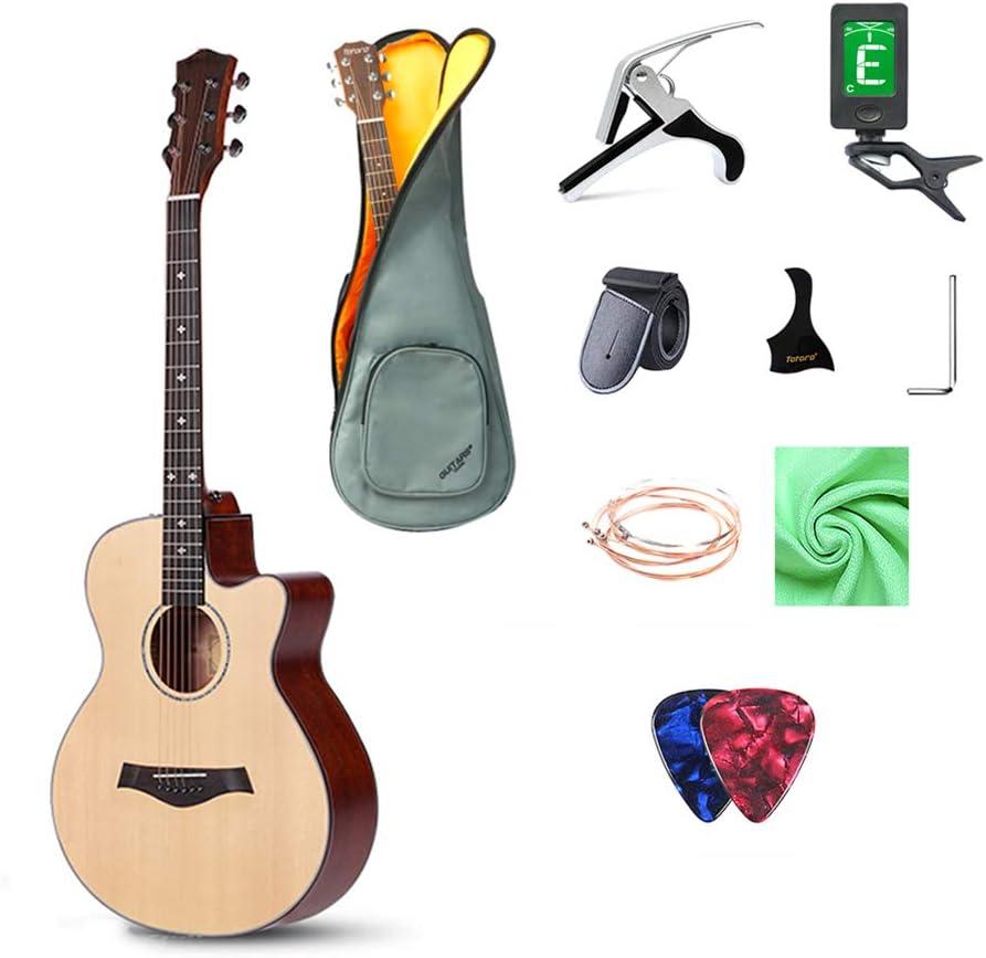 GRXDJ Guitarra clásica con Cuerdas y afinador de Nylon, Material de Madera sólida Natural, Perilla de Cuerda Completamente Cerrada de 40 Pulgadas, Sonido de Bloqueo