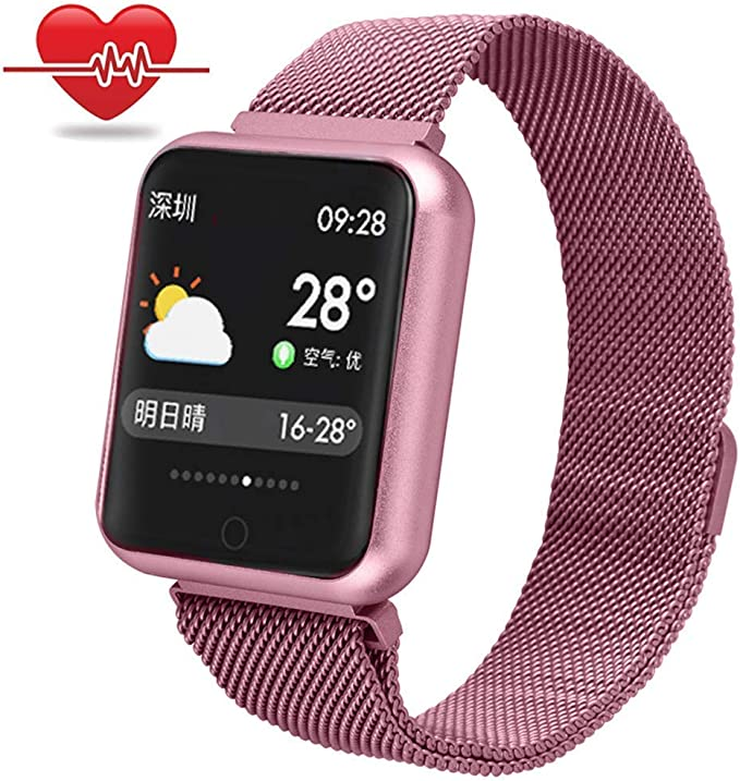 RanGuo - Reloj Inteligente para Hombres, Mujeres y niños, Deportes al aire libre impermeable IP68 Smart Watch para sistema Android y iOS, Apoyo recordatorio de llamada y recordatorio de mensaje (Rosa): Amazon.es: