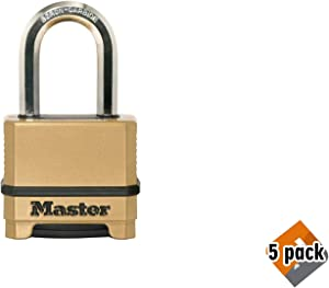Master Lock M175XDLF Heavy Duty Outdoor Combination Lock, 1-1/2 in. Shackle, Brass Finish, Pack 5