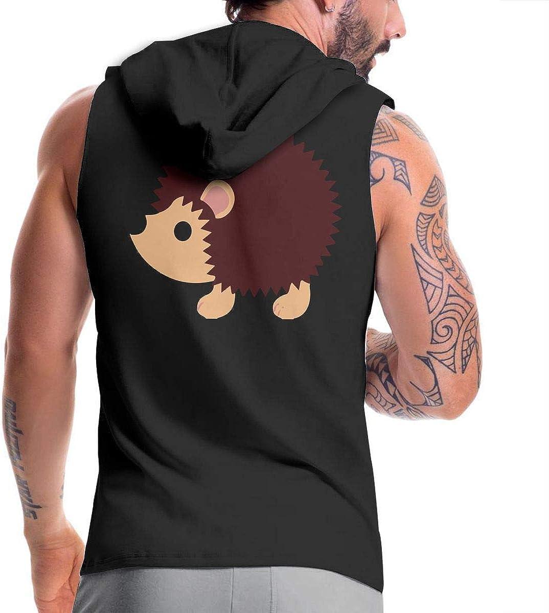 BB/&YYY Cute Hedgehog Mens Sleeveless Zipper Hoodie Sweatshirt Bodybuilding Tank Top