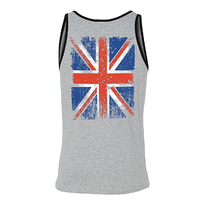 97444b98732623 Vintage UK Flag Union Jack Distressed Men s Tank Top United Kingdom Shirts  Ath. Heather