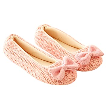 TININNA Zapatillas Mujer Inicio Zapatillas Bowknot Hembra Cachemira Caliente de las mujeres embarazadas Zapatos diseño antideslizante de la Yoga Rosa: ...