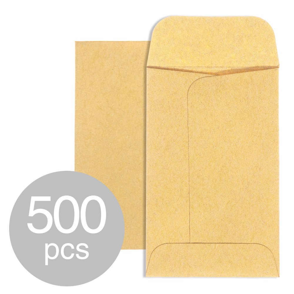 Acko #1 Coin Envelopes 2.25x 3.5 Brown Kraft Envelopes Small Parts Envelopes with Gummed Flap for Home and Garden.