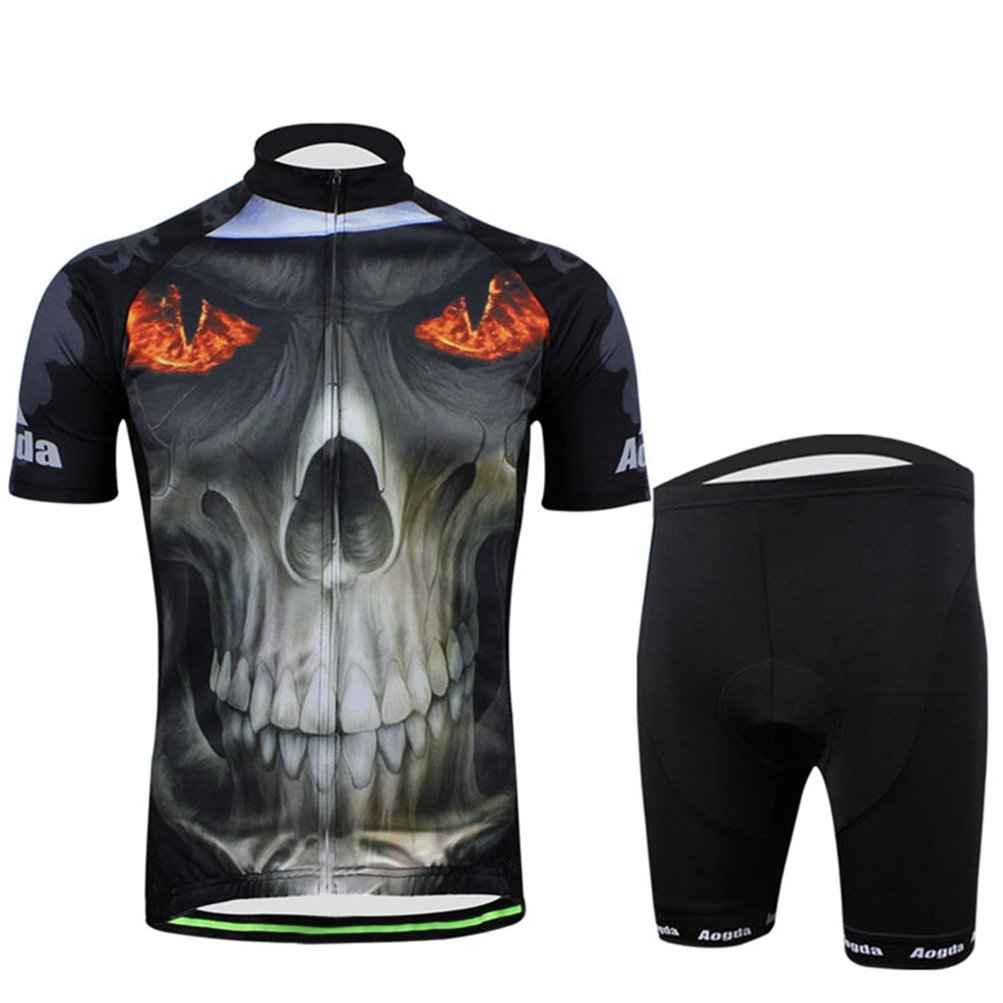 Uriahメンズ3d Cycling Jersey Shortsセット半袖 B06X6D5KLM Large|Skull Fire Skull Fire Large