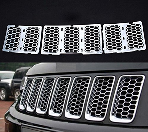 Flex Chrome Insert (GooDeal Chrome Honeycomb Insert Trim Front Mesh Grille Cover for 2014-15 Jeep Grand)