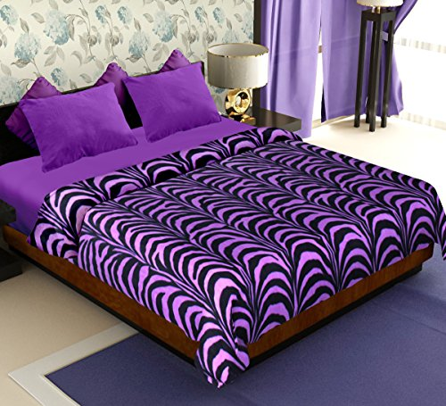 Story@Home Coral Soft Printed Polyester Double Blanket – Purple