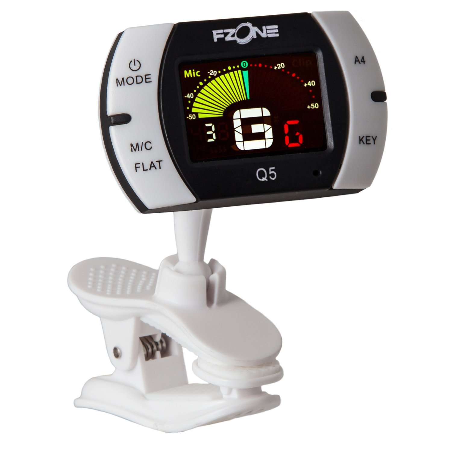 Fzone FT-Q5 Chromatic Clip-on Tuner for Guitar, Bass, Violin, Ukulele, Banjo, Brass and Woodwind Instruments - Bright Full Color Display - Extra Mic Function - A4 Pitch Calibration - Transposition