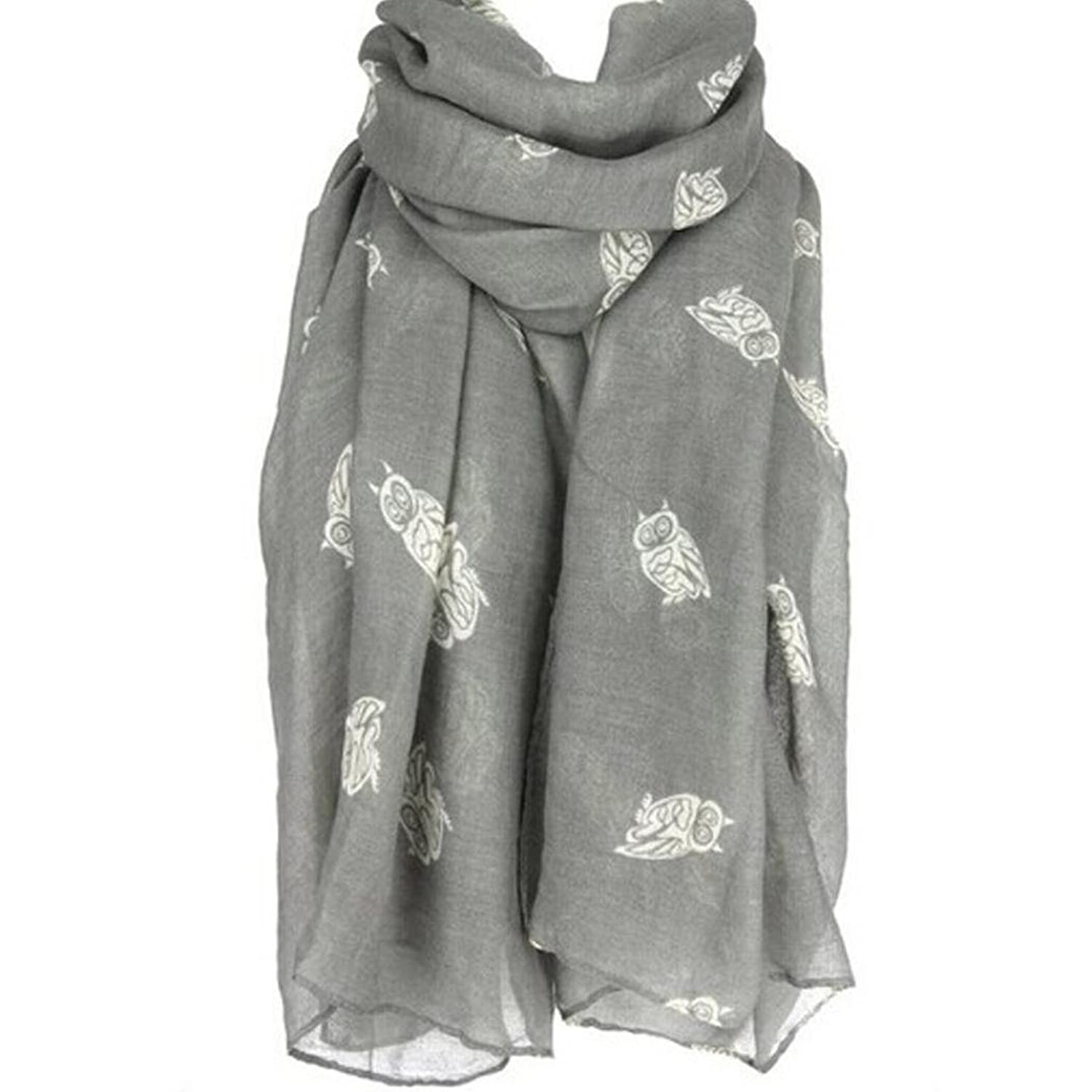 Owl Print Scarf, Perman Girl Women Ladies Long Cute Voile Warm Soft Wrap Shawl