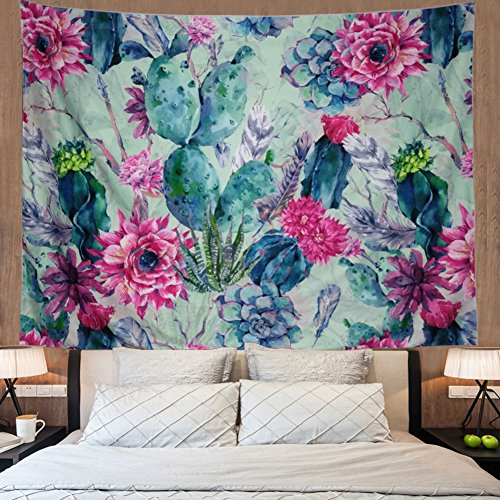 Cactus Tapestry Wall Hanging Cactus Landscape Plant Printed Tapestry Watercolor Psychedelic Tapestry Bohemian Hippie Tapestry Indian Wall Art for Living Room Bedroom Dorm Decor