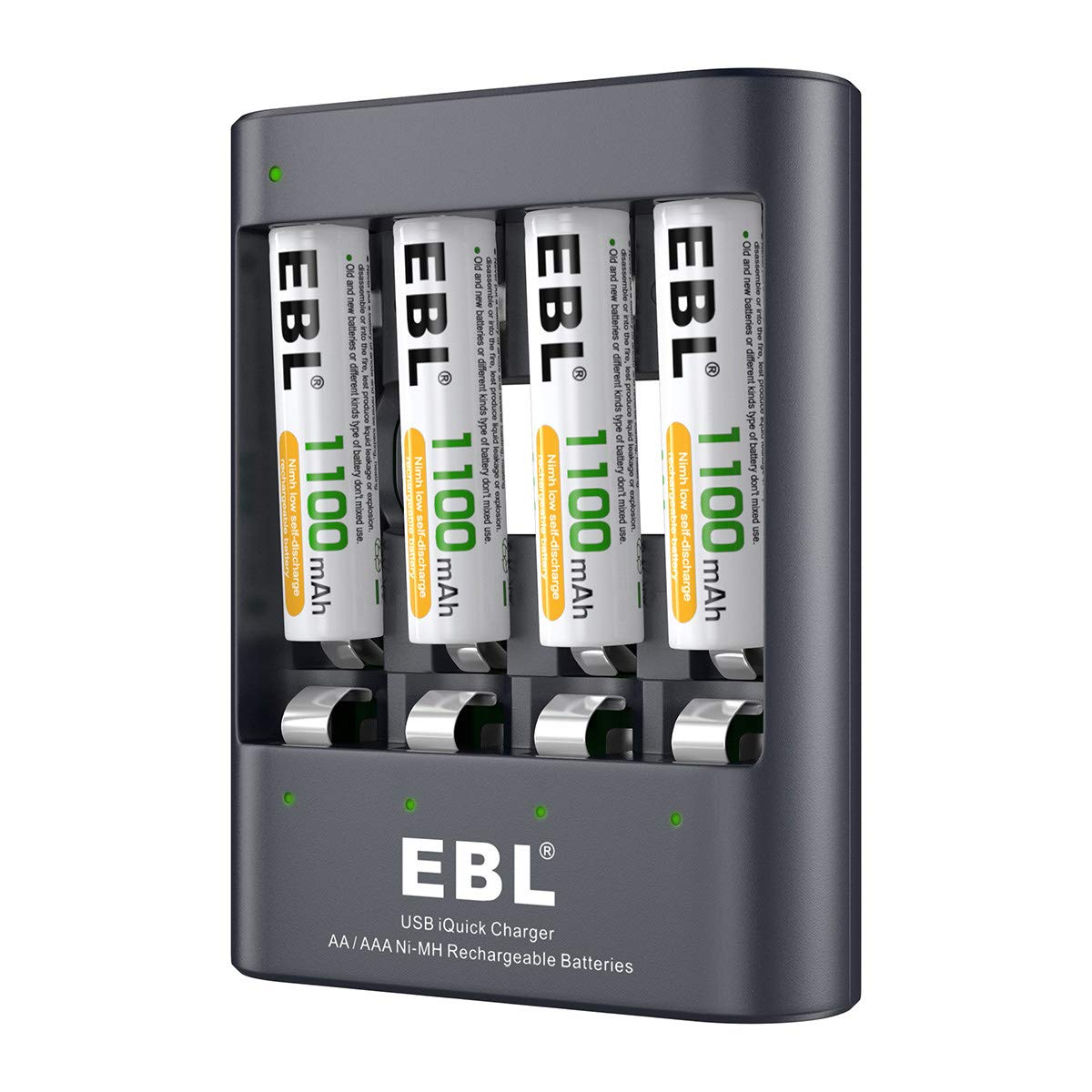 EBL 4 x 1100mAh AAA Rechargeable Batteries Plus USB Fast Battery Charger, Batteries with Charger