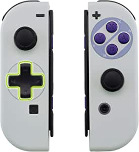eXtremeRate Classics SNES Style Soft Touch Joycon Handheld Controller Housing (D-Pad Version) with Full Set Buttons, DIY Replacement Shell Case for Nintendo Switch Joy-Con – Console Shell NOT Included