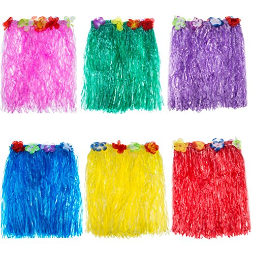 Hula Skirt Color Grass Multi (Blulu 6 Pieces Multicolor Hawaiian Silk Faux Flowers Hula Grass Skirt for Costume Party, Birthdays, Celebration)