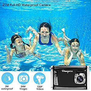 "Heegomn Ditigal Camera Ultra HD 24M Resolution Waterproof Camera 2.4"" LCD Video Camera with Wide Angle Len, Black"