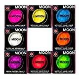 Moon Glow - Blacklight Neon Hair Chalk 0.12oz Set of 8 colors – Glows brightly under Blacklights / UV Lighting!