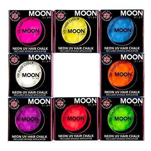 Moon Glow - Blacklight Neon Hair Chalk 0.12ozSet of 8 colors– Glows brightly under Blacklights / UV Lighting! by Moon Glow