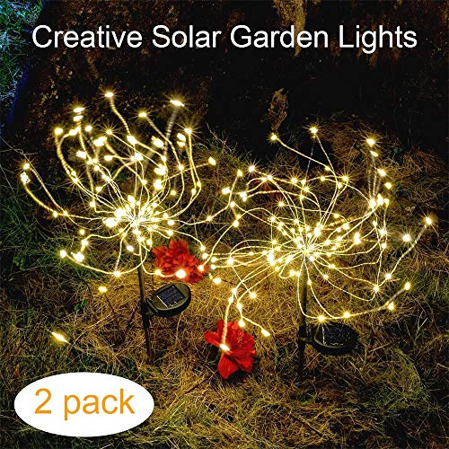 Outdoor Solar Garden Decorative Lights-Mopha Solar 105LED Powered 35Copper Wires Stake Landscape Light-DIY Flowers Fireworks Stars for Walkway Pathway Backyard Christmas party Decor (Warm White 2Pack)