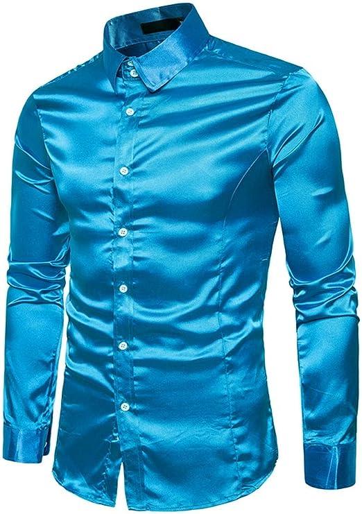 CSDM Camisa de Hombre Camisa de Seda de los Hombres de satén Hombres Lisos Camisa de