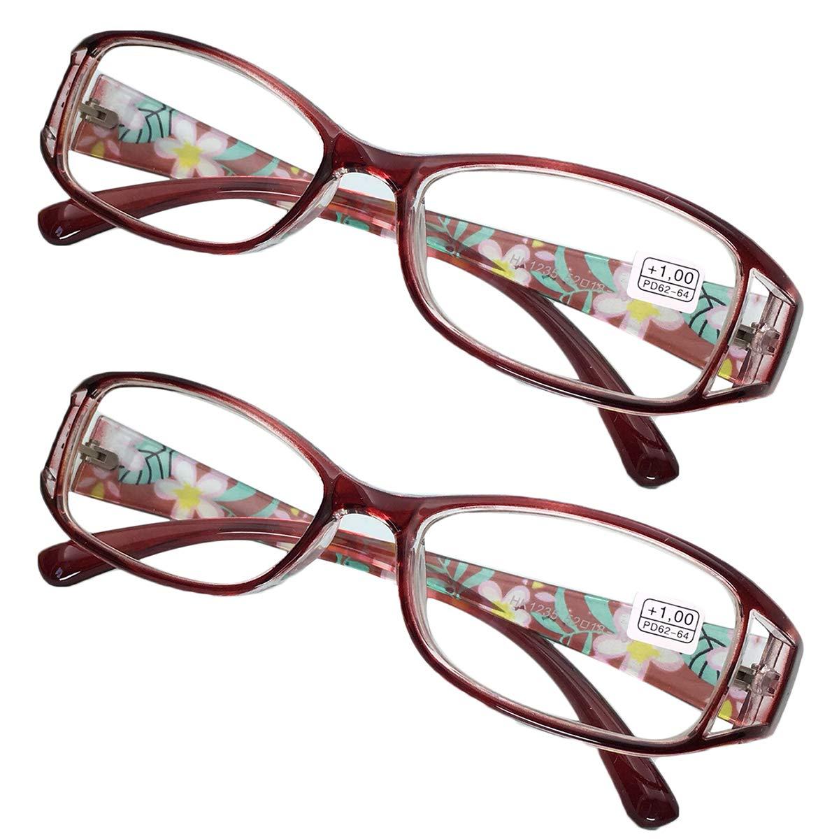 KOOSUFA Lesebrillen Damen Lesehilfe Sehhilfe Augenoptik Blumen Qualit/ät Vollrandbrille 1.0 1.5 2.0 2.5 3.0 3.5 4.0 4.5 5.0 5.5 6.0