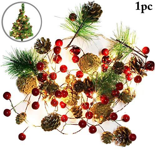 Outgeek Christmas String Light Creative Pinecone Bell Berries Decor Fairy String Light 20 LEDs String Light 6.56ft. ()