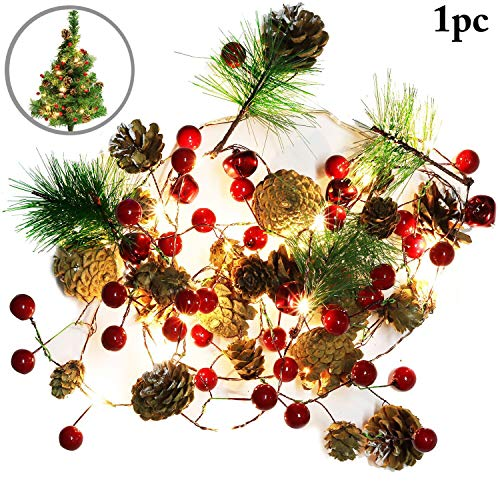 Outgeek Christmas String Light Creative Pinecone Bell Berries Decor Fairy String Light LED String Light