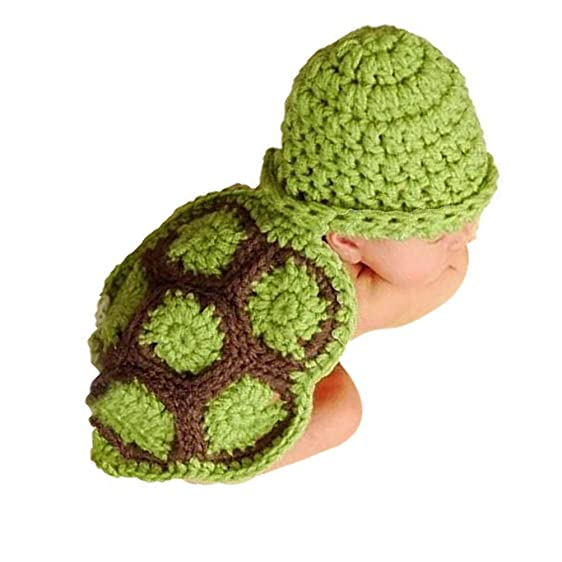 Amazon.com: Handmade Crochet Knit Baby Photo Outfit Soft Warm Turtle ...
