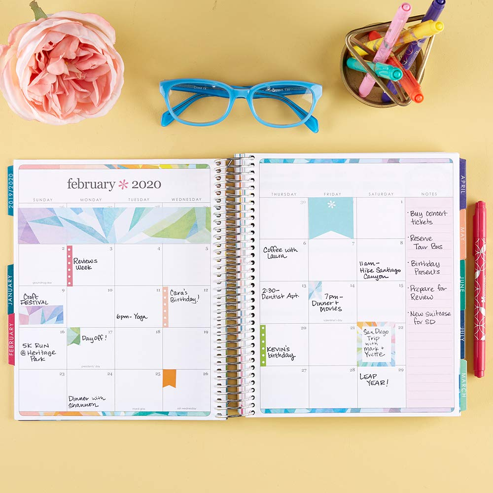 Erin Condren 12-Month July 2019 - June 2020 Coiled LifePlanner - Kaleidoscope Colorful, Hourly (Colorful Layout) by Erin Condren (Image #3)