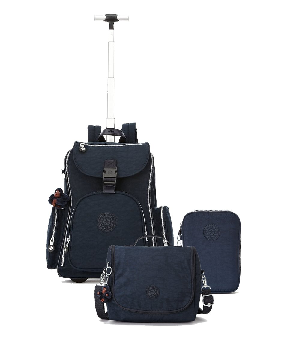 Kipling Back to School Bundle: Alcatraz Wheeled Backpack, Lunchbag and 100 Pens Pencil Case (One Size, True Blue)