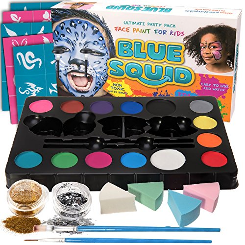 Face Paint Kit for Kids - 52 Pieces, 14 Colors, 2 Glitters, 30 Stencils, 4 Makeup Sponges, Best Quality Face Paint Party Supplies - Safe Facepainting for Sensitive Skin - Professional Costume Makeup -