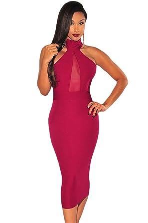 8fcb0571cd39 LETSDO Sexy Women Black Mock Neck Sheer Peep Hole Midi Dresses Sleeveless  Bodycon Evening Party Club Dress (M, Wine red): Amazon.co.uk: Clothing