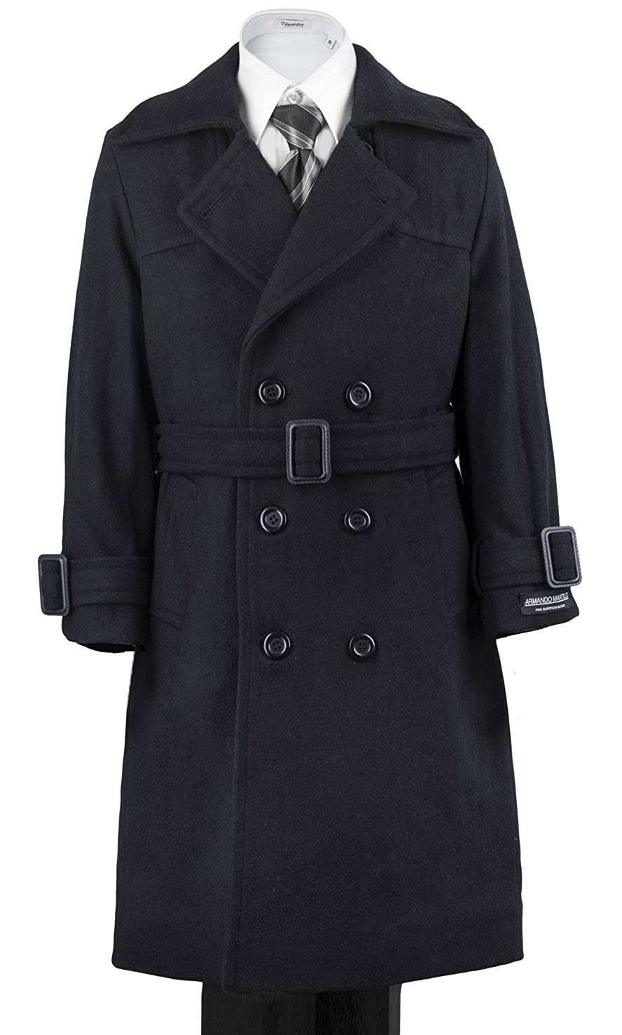 Boys' Warm Winter Wool Dress Coat Double Breasted W/ Hood & Belt Black Navy Grey Parties Holiday Gift & All Formal events 4 618
