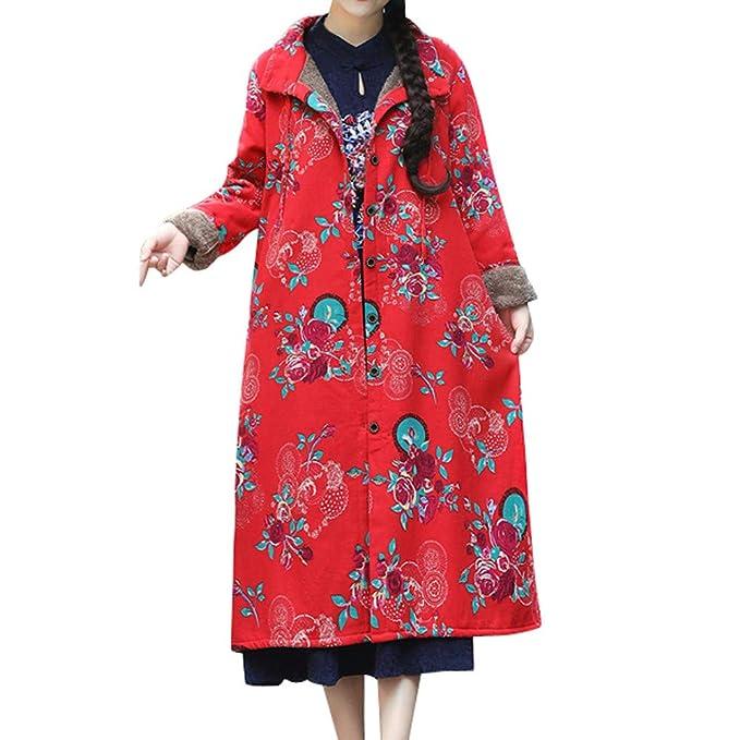 Linlink Venta de liquidación Moda Mujer Prendas de Abrigo algodón Lino Invierno Abrigo Folk-impresión Personalizada Outcoat Chaqueta: Amazon.es: Ropa y ...
