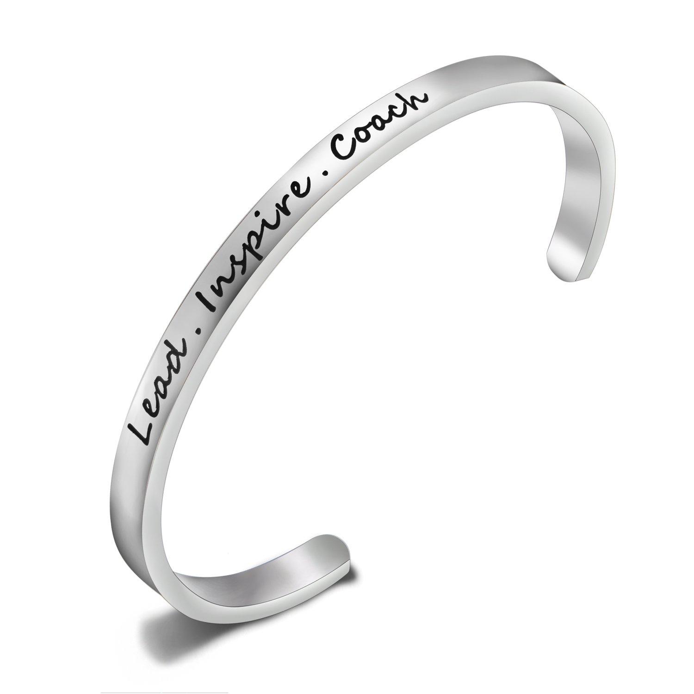 FEELMEM Cheerleader Bracelet Lead Inspire Coach Cuff Bangle Bracelet,Cheer Jewelry,Perfect Gift For Cheerleader for Cheerleader (Silver)