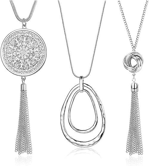 SEVENSTONE 3PCS Long Pendant Necklaces for Women Knot Disk Circle Tassel Statement Sweater Necklace Set