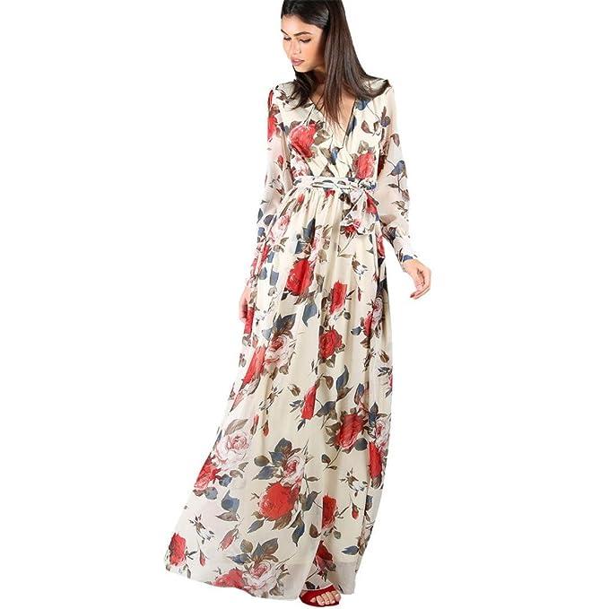 vestido de mujer,Switchali Mujer Impresión floral manga larga Retro Palacio Cuello en V maxi