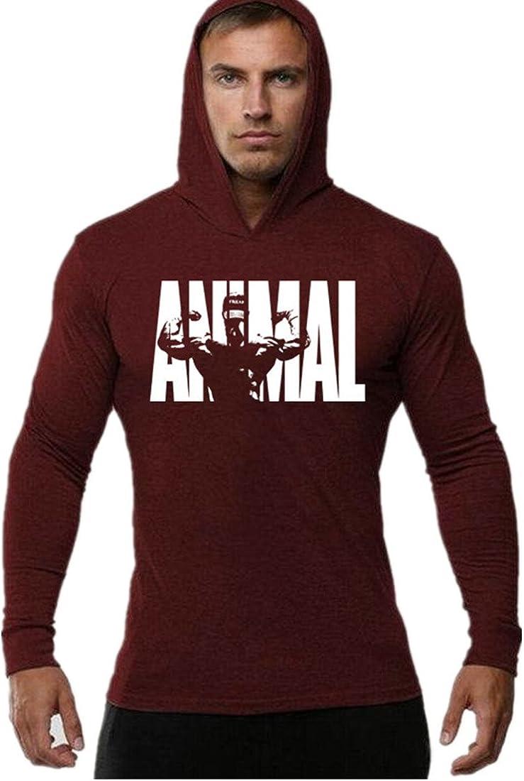 YeeHoo Hombre Bodybuilding Manga Larga Camisetas con Capucha de Tirantes Sweatshirt