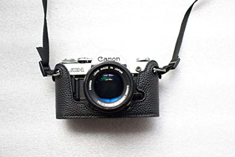Amazon.com: Funda de piel auténtica hecha a mano para Canon ...
