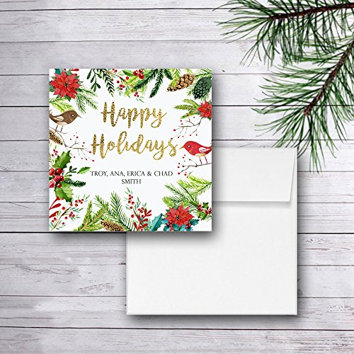 Personalized Christmas Cards, Happy Holidays Gold Foil, Set of (Peace Square Card)
