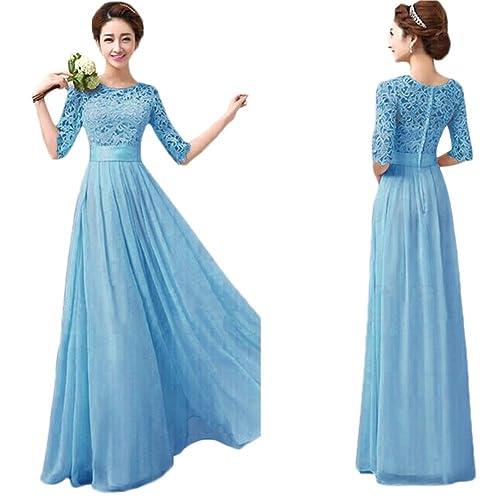 Kinghard® Women Lace Long Maxi Evening Dress Chiffon Cocktail Dress Gown